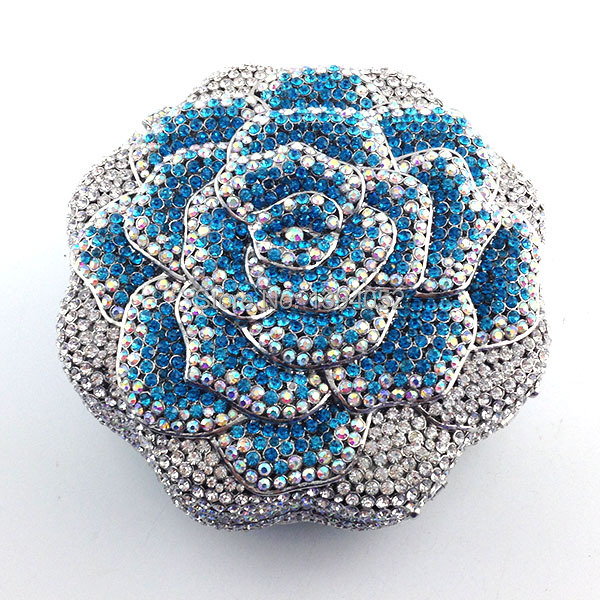 Multi-Color Rose Flower Shape Crystal Ladies Bridal Clutch Bags With Blue Color Ladies Clutch Purse Party Evening Bag цена и фото