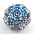 Multi-Color Rose Flower Shape Crystal Ladies Bridal Clutch Bags With Blue Color Ladies Clutch Purse Party Evening Bag