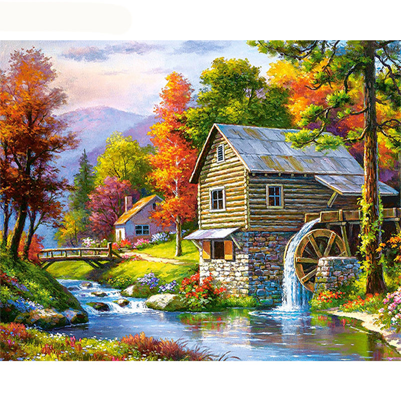 GATYZTORY Frame Fairyland DIY Painting By Numbers Modern Wall Art Canvas Painting Picture By Numbers Landscape For Home Decors