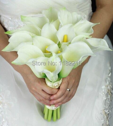 Elegant Luxury Real Touch Calla Lily Bridal Bouquet White Wedding Bridesmaid Bride