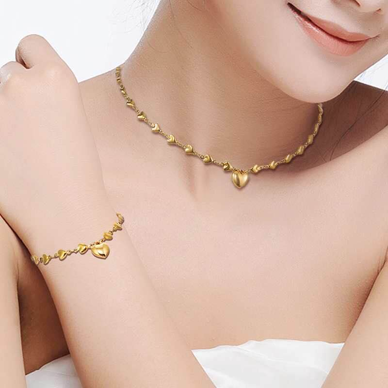 Luxury 316L Stainless Steel Heart Choker Necklace Pendant + Bracelet Jewelry Sets Women Engagement Jewellery Accessories