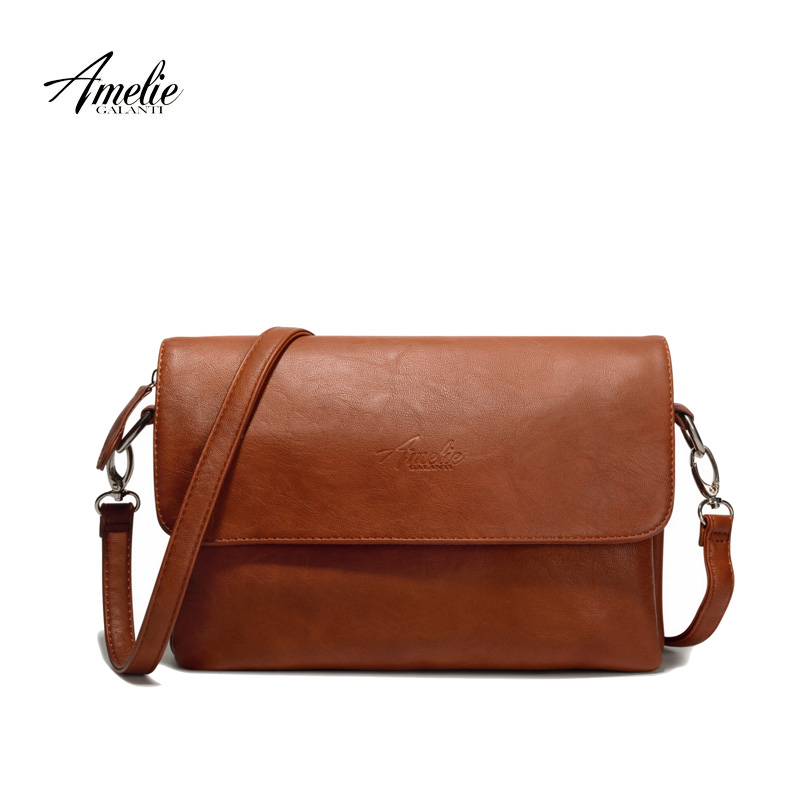 AMELIE GALANTI small cognac crossbody bags for women casual shoulder purses and handbags for ladies multifunctional stylish amelie galanti shoulder crossbody bags for women saddle purse embroidered bag with rivet long straps