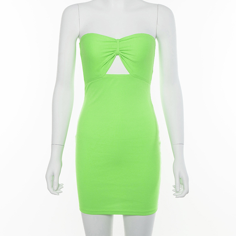 Summer 2019 New Women Solid Fluorescence Strapless Hollow Out Neon Dress Ladies Casual Streetwear Female Sexy Club Party Dress in Dresses from Women 39 s Clothing