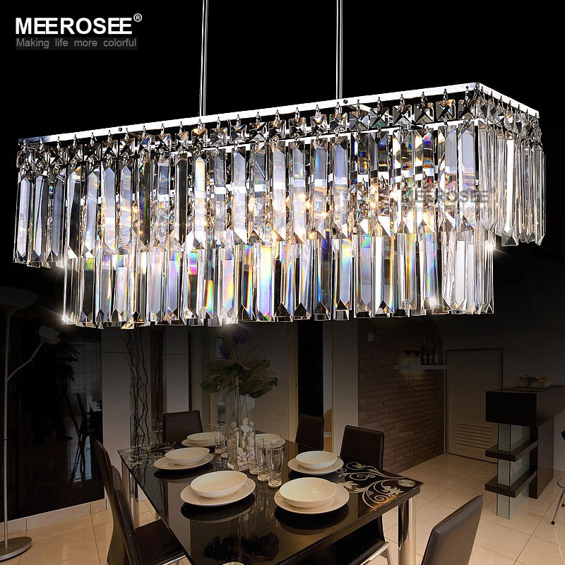 Modern pendant light fixture rectangle crystal lamp for Living room hanging lights