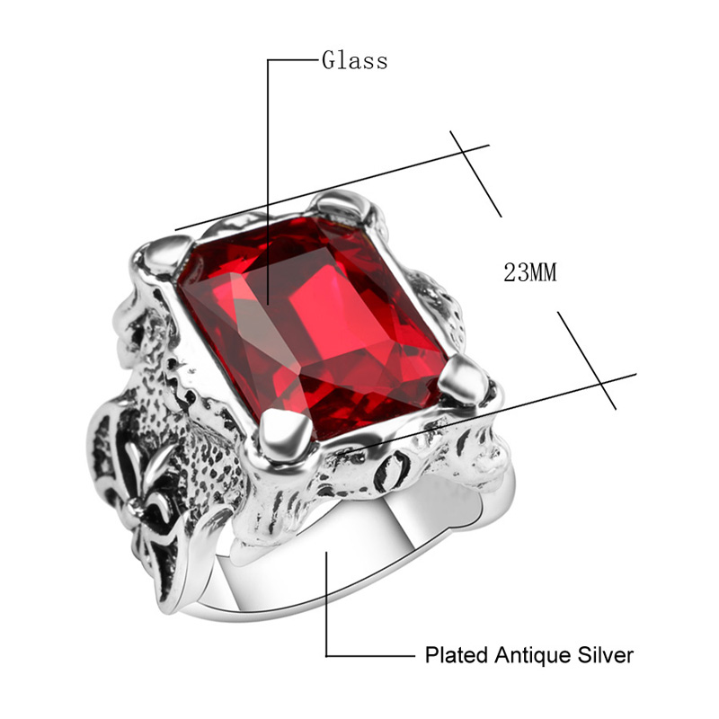 SexeMara Big Square Glass Ring Men Women Luxury Alloy Plated Antique Silver Retro Finger Rings for Lady Man Jewelry Wholesale