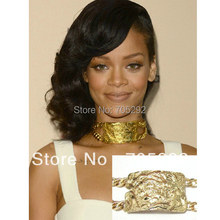 Hot selling Rihanna Kim K.Celebrity Jewelry Chunky Huge ID Pendants with Doule Metal Link Chain Necklace
