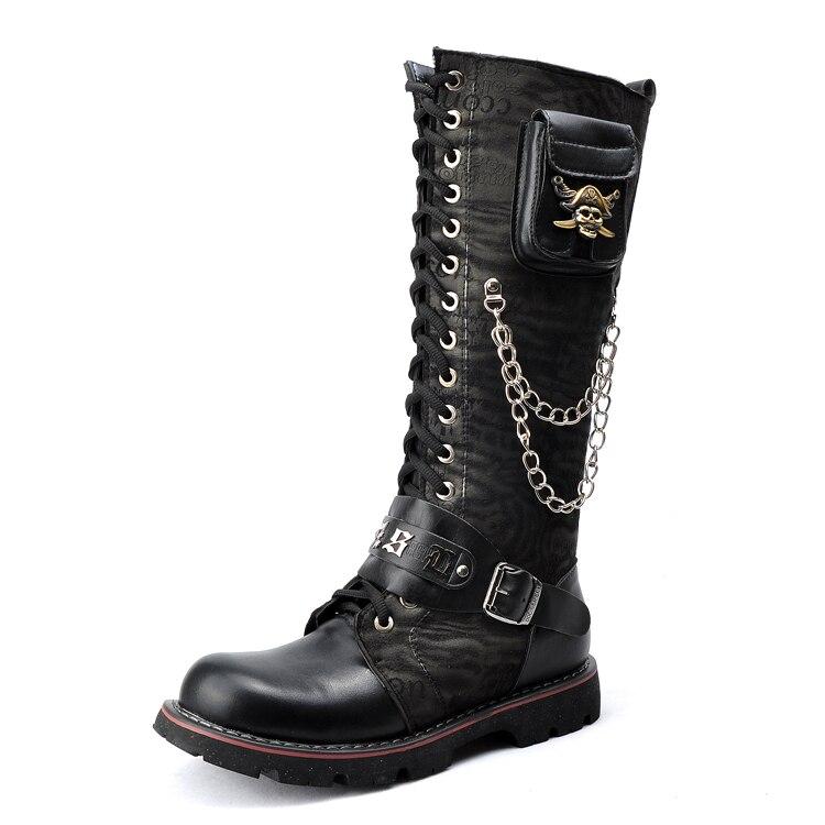 Free Shipping Knee High Male Shoes Men Martin Boots Rock Punk Round Toe Flat Platform Men ...