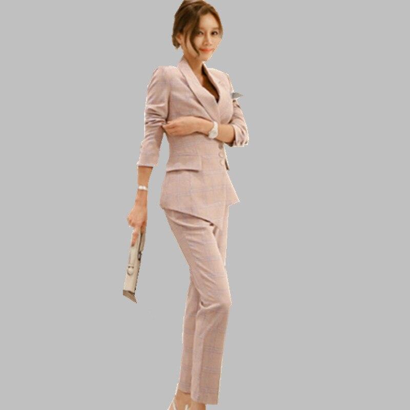 2 Stück Streifen Hose Anzüge Formalen Damen Büro Ol Uniform Designs Frauen Elegante Business Arbeit Tragen Jacke Mit Hose Sets