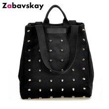 2019 Fashion Rivet Women Handbag Casual Canvas Shoulder Bags Female Tote Book Bl