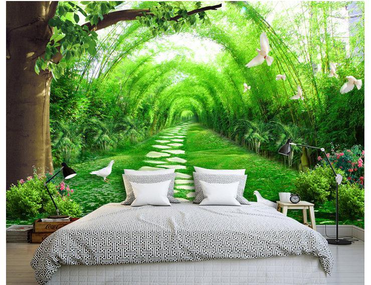 3d Tapety ścienne Na Zamówienie Piękno świeżego Bambusa Lasu