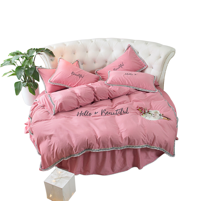 Round Bed 4 Pcs 100% Cotton Embroidery Tassels / Lace Edge Pillowcase & Duvet Cover Fitted Sheet / Bed Skirt  Sets 200cm 220cm tassels pillow