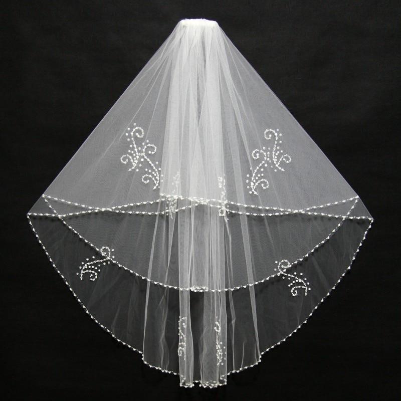 Brudslöjor två lager pärlstav pärlor pärlkant vitt vit elfenben - Bröllopstillbehör