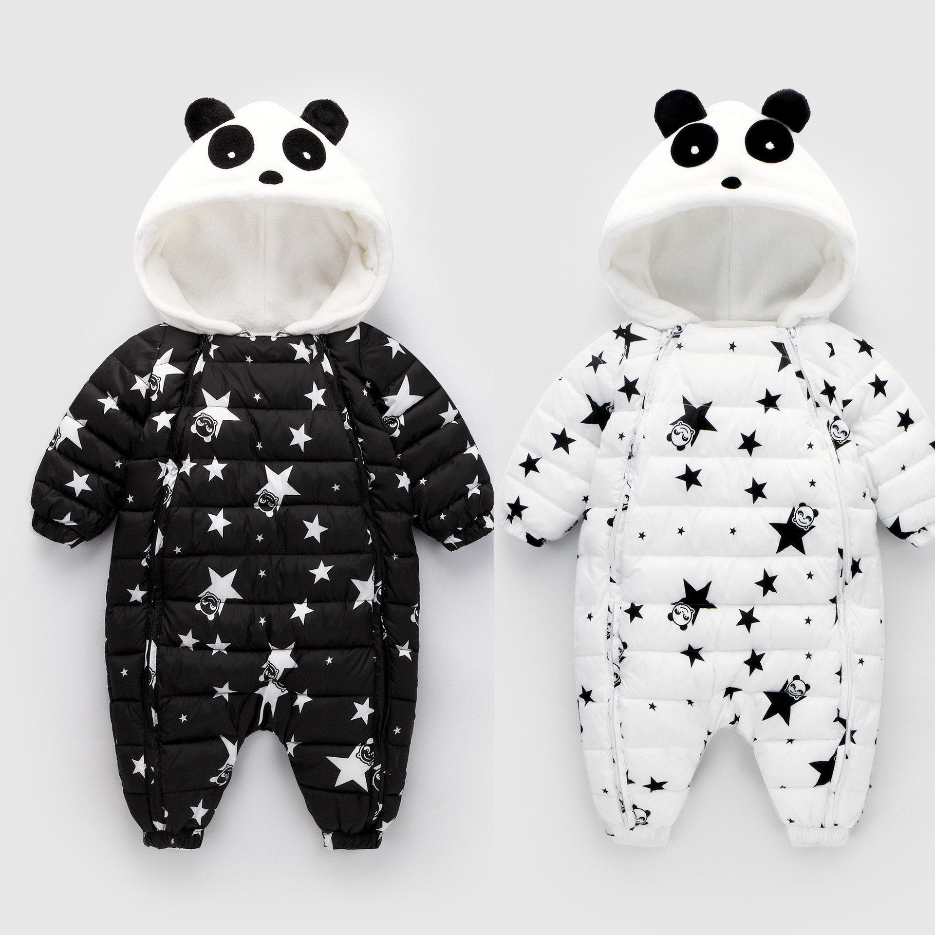 Winter Infant/Newborn Rompers Baby Girls Boys Warm Thick Jumpsuits Star Children Kids Hooded Coat One Piece Clothes 2 pieces lot winter coral fleece warm baby infant boys clothes girls hooded rompers newborn sleepwear kids children clothing
