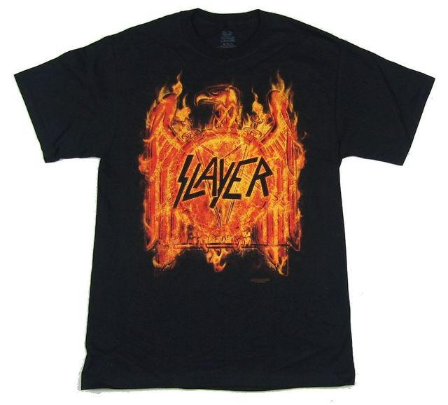 feb756cb Slayer Flaming Eagle Tour Black T Shirt New Official Band Merch Casual T-Shirt  Male