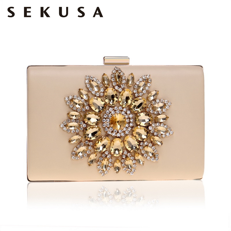 SEKUSA Fashion Women Clutches Pu Diamonds Small Evening Bags Rhinestones Chain Shoulder Party Wedding Handbags For Female