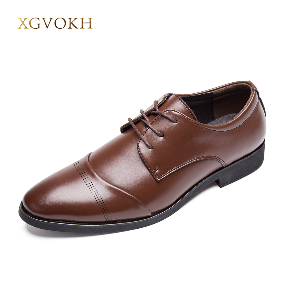 XGVOKH Oxfords Men PU Leather Brand Spring Autumn Men's Formal Shoes Dress Biritsh Vintage Retro Shoe Elegant Flats