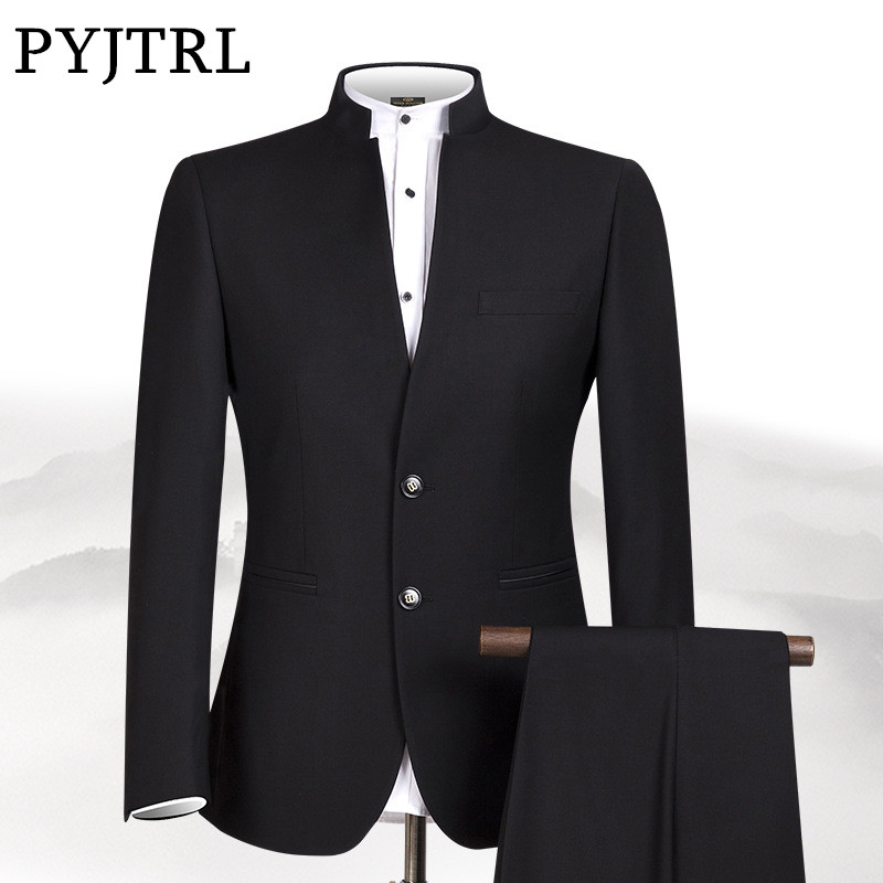 PYJTRL New S-4XL Men Chinese Tunic Collar Bridegroom Suit Formal Wear Dress Slim Fit Mens Suits Groom Wedding Blazer Pants Homme