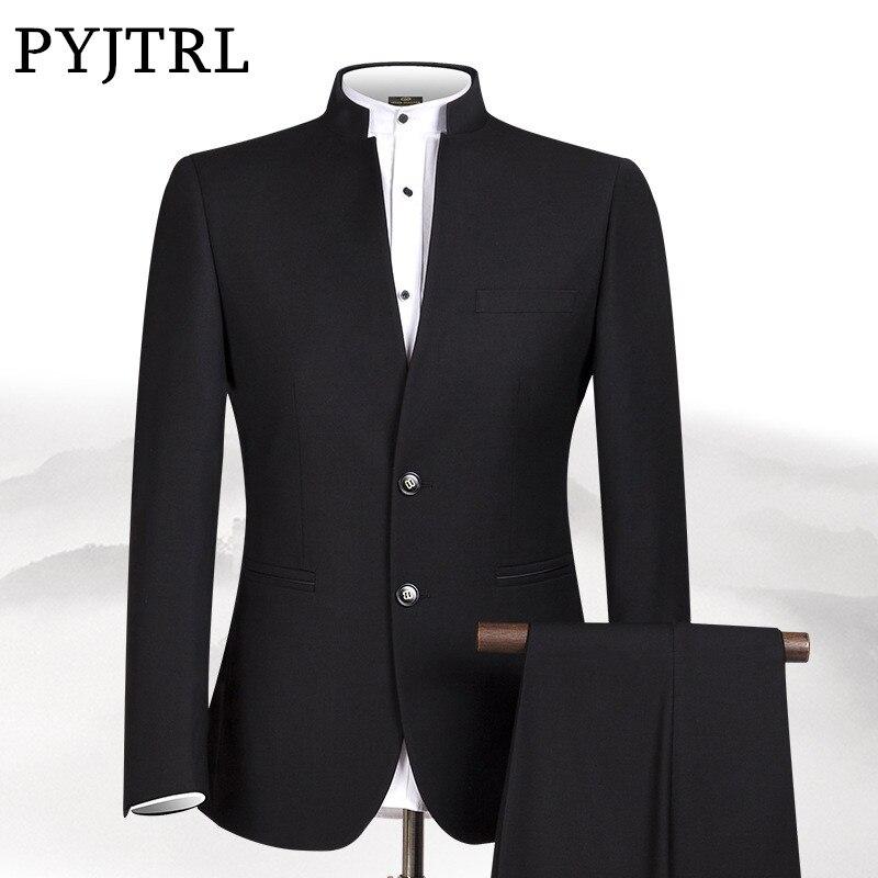PYJTRL Novo S-4XL Homens Túnica Chinesa Gola Noivo Terno Formal desgaste Vestido Slim Fit Mens Ternos de Casamento Do Noivo Blazer Calças Homme