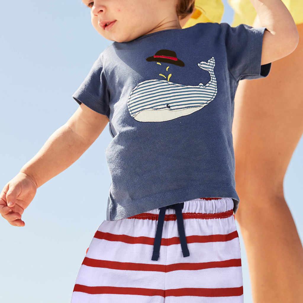 Bébé garçon vêtements d'été à manches courtes bande dessinée impression Tee hauts enfant filles garçons coton t-shirt + décontracté rayé ensemble Short et haut survêtement