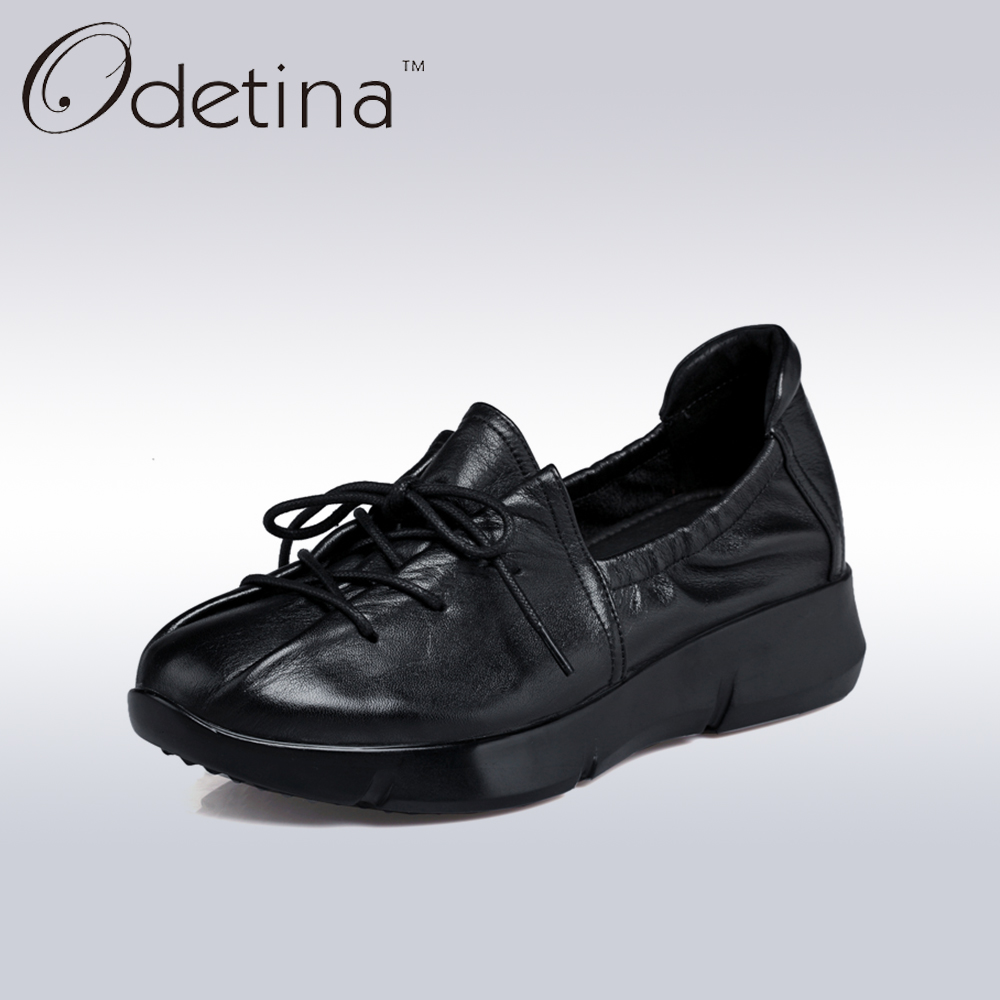 Odetina Fashion Women Genuine Leather Boat Shoes Black Slip on Breathable Women Moccasins Loafers Spring Female Driving Shoes branded men s penny loafes casual men s full grain leather emboss crocodile boat shoes slip on breathable moccasin driving shoes