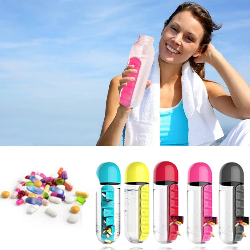 7 Daily Pill Box 2IN1 Water Bottle Cup Case Outdoor Use Capsule Organizer Travel Refillable Bottles intelligent 1 lcd electronic 7 grid pill capsule medicine organizer case blue white 2 x aaa