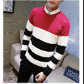 Hot Sale 2016 New Fashion Brand Men's Patchwork Full Pullovers Computer Knitted Thin wool Casual Knitted sweater Plus size 5xl