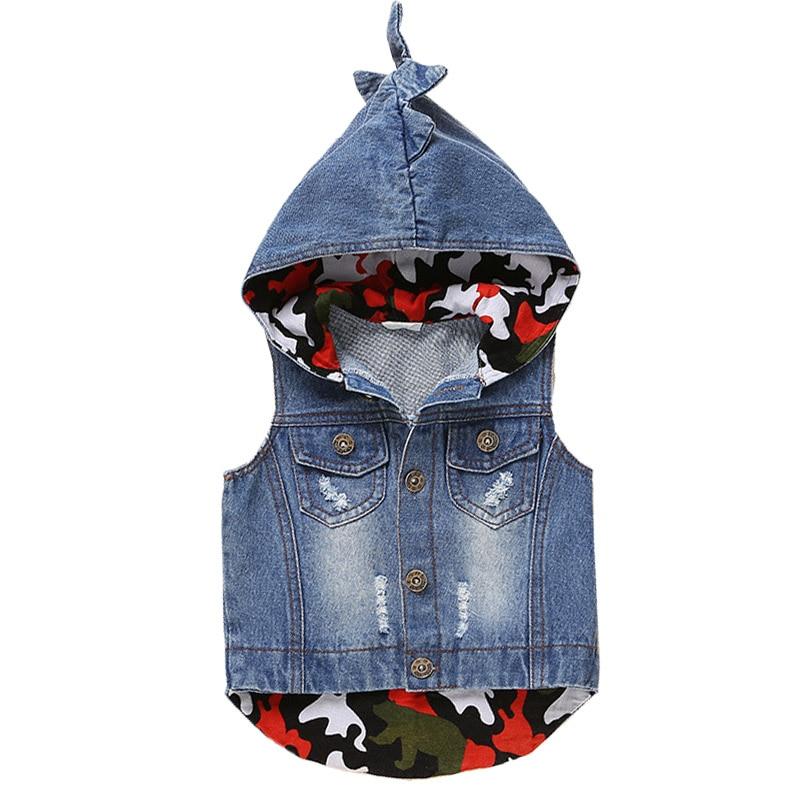2018 Spring Autumn Kids Denim Vest Coats Fashion Children Hooded Coat Sleeveless Waistcoat Animal Style Boys Girls Outerwear