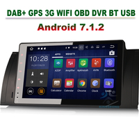 Quad Core DAB+ Android 7.1.2 Autoradio GPS Navitaion for BMW 5 Series E39 X5 E53 M5 3G Car Radio DVR OBD WIFI Mirror link