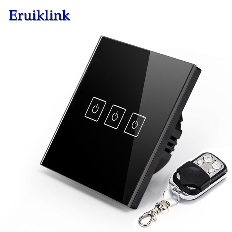 EU Standard Eruiklink 3 Gang 1 Way RF433 Remote Control Wall Touch Switch, Wireless Remote Control Light Switches for Smart Home smart home eu touch switch wireless remote control wall touch switch 3 gang 1 way white crystal glass panel waterproof power