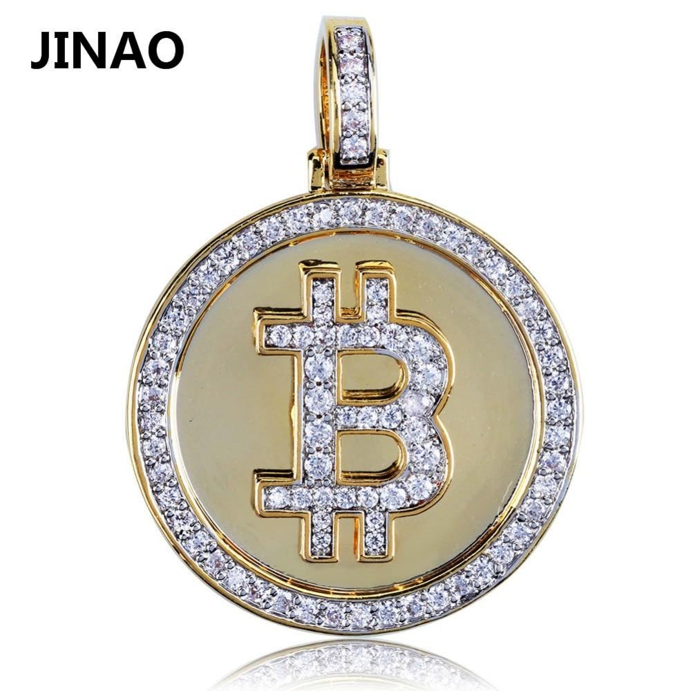JINAO Hip Hop Iced Out oro Color plateado Bitcoin colgante collar Micro Pave Zircon con 60 cm cuerda cadena o cadena cubana