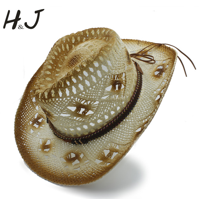 7c17606e3 US $17.78 |Women Men Summer Straw Western Cowboy Hats Lady Gentleman Roll  Up Brim Sombrero Hombre Hat Topi Pria Beach Sun Cap Size 56 58-in Men's ...