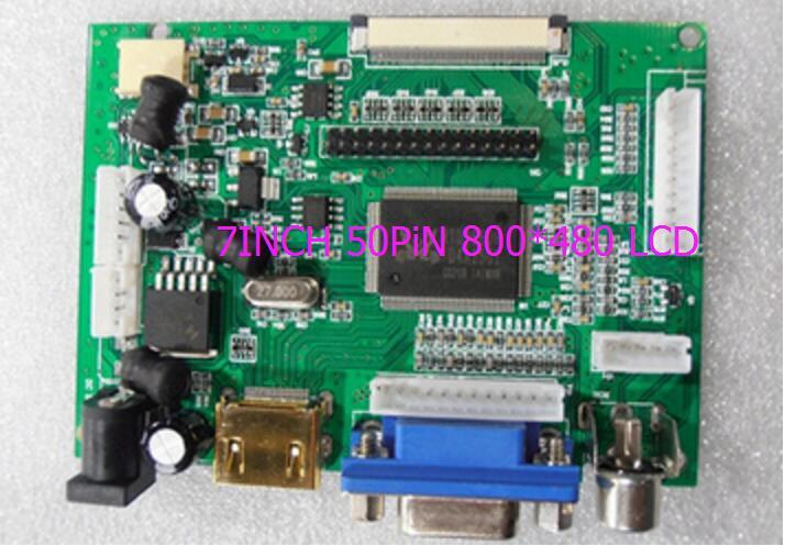 LCD Display TTL LVDS Controller Board HDMI VGA 2AV 50PIN 800 480 for AT090TN10 AT070TN90 92