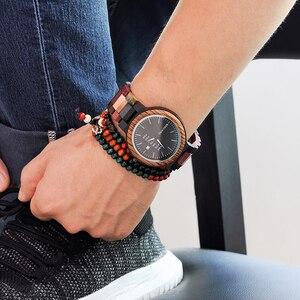 Image 3 - Bobo pássaro casal relógio de luxo marca madeira relógios semana data exibição quartzo relógios para homens feminino ótimo presente dropshipping oem