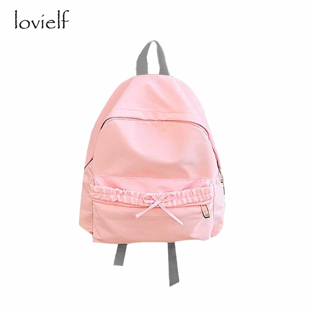 lovielf NEW cute Teenager Girl Women Lady Waterproof Kawaii Macaron Bow knot Bowknot Ruffles Pink Princess Schoolbag Backpack vans wm realm backpack pink lady ph
