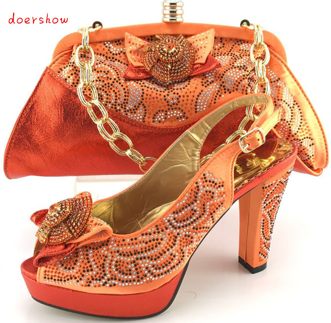doershow Shoes and Bags To Match Set Sale Nigerian Dress Bag Matching Shoe Set with Stone Italian Matching Shoe and Bag  PQS1-14