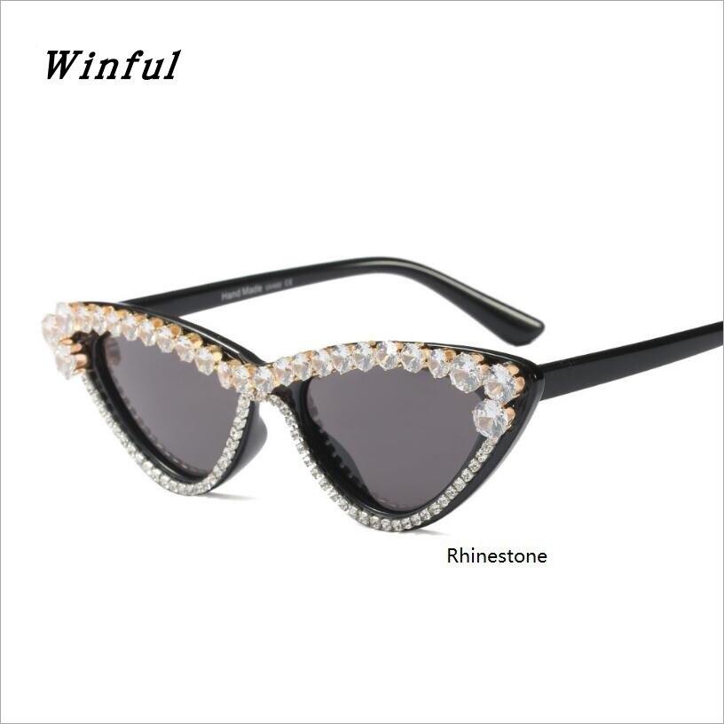 Sexy Rhinestone Cat Eye Sunglasses Women 2018 New Luxury Brand Design Hot Retro Sun Glasses ladies Sunglass UV400 eyewear oculos