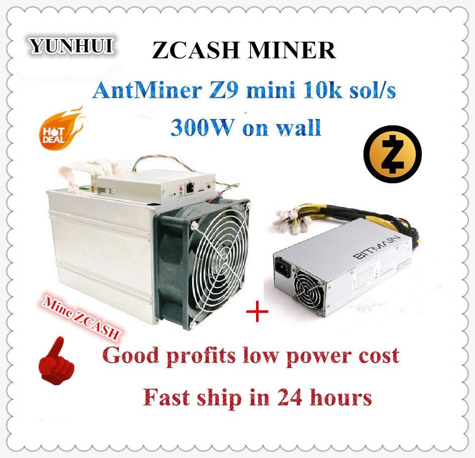 Em estoque Usado ZCASH Mineiro Antminer Z9 Mini 10 k Sol/s 300 W Com Bitmain APW3 1600 W PSU Bom Lucro melhor do que A9 S9 para 14 k Sol/s