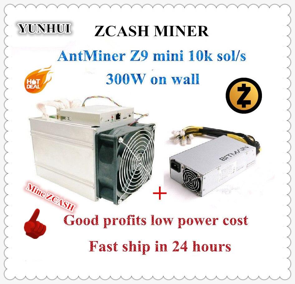 In magazzino Utilizzato ZCASH Minatore Antminer Z9 Mini 10 k Sol/s 300 W Con Bitmain APW3 1600 W PSU Buon Profitto meglio di A9 S9 a 14 k Sol/s