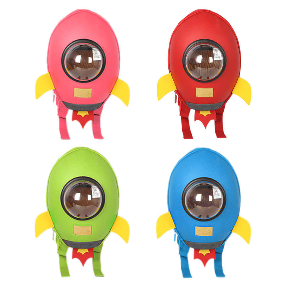 INT'G 3D Rocket Kids Backpack Boys Cartoon Plush Girls Bag Children Backpacks Kawaii Kindergarten Bag Kids Child Waterproof