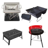 Portable Stainless Steel BBQ Grill Folding Barbecue Charcoal Grills For 3 5 Person Outdoor Graden Camping Party Accessories Tool