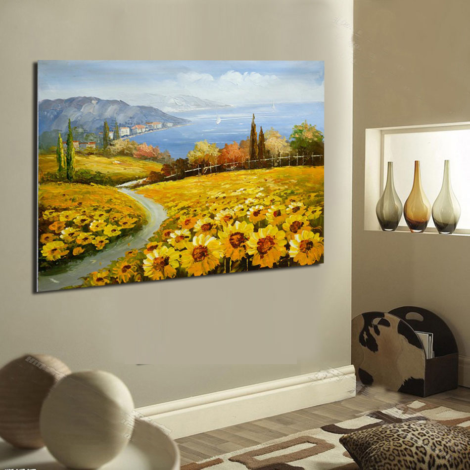 Sunflower Oil Painting Print On Canvas Landscape Canvas Printings ...