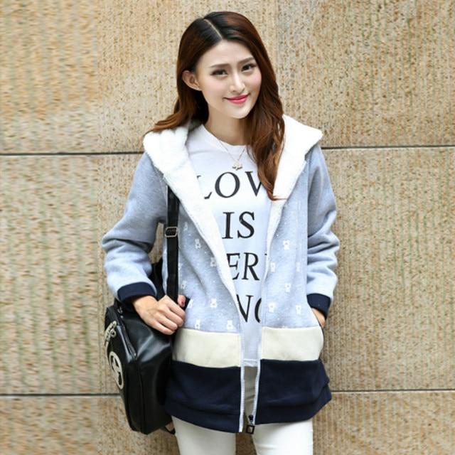 Материнство пальто с флисовой утолщение большие размеры флис мода с длинным рукавом одежда для беременных Бесплатная доставка