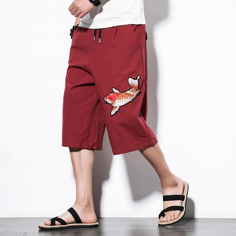 M-5xl Sommer Plus Größe Baumwolle Leinen Herren Harem Hosen Männlichen Lose Hip Hop Große Männer Breite Bein Nepal Kalb- Länge Hosen Stickerei Gesundheit Effektiv StäRken