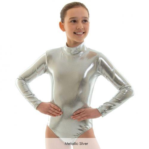 kids-silver-long-sleeve-turtleneck-gymnastics-leotard-girls-font-b-ballet-b-font-dance-toddler-unitard-zip-pink-shiny-leotard-tights-top