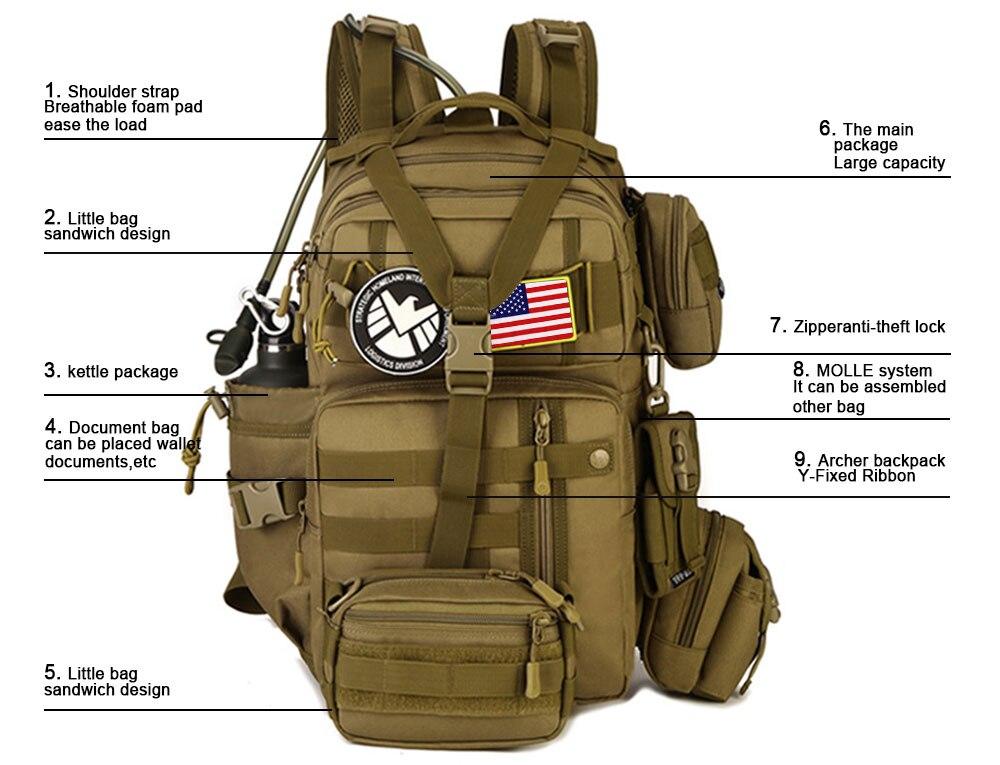 mochila 900d à prova d900água exército ombro