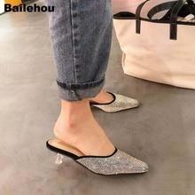 цены Bailehou Spring Summer Rhinestone Slippers Runway Slip On Mules Brand Crystal Heel Wedding Shoes Bling Slides Low Heel Slippers