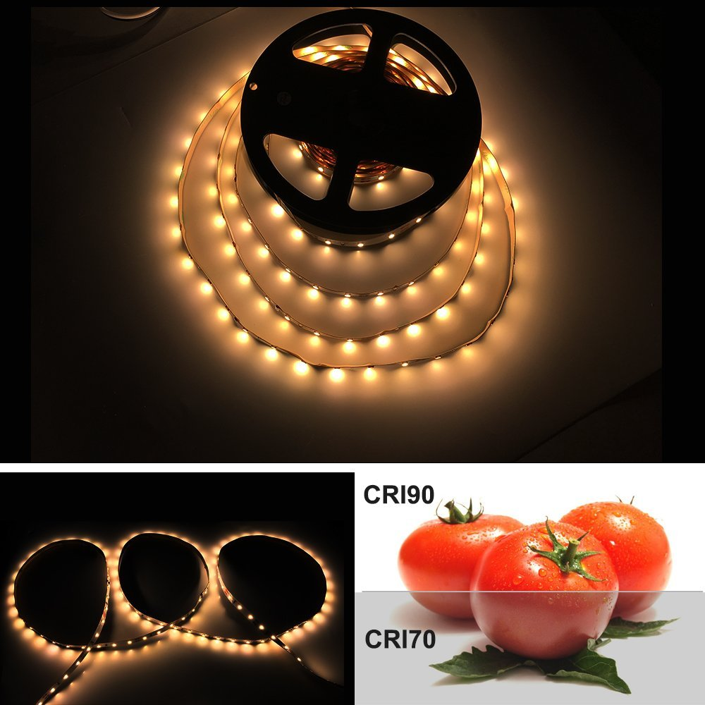 High CRI>90 Non-waterproof 5m (16.4Feet)/lot 2835 LED Light Strip Ultra Warm White DC12V Flexible Strip Lighting 12W 60leds/m