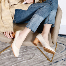 2019 VALLU Spring Shoes Women Pumps Block Heels Genuine Leather Square Toes Sheepskin Lady High Heel