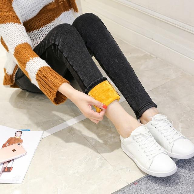2016 беременных джинсы беременные женщины брюки брюки плюс бархат сгустите ноги ноги штаны живота брюки золотые бархатные