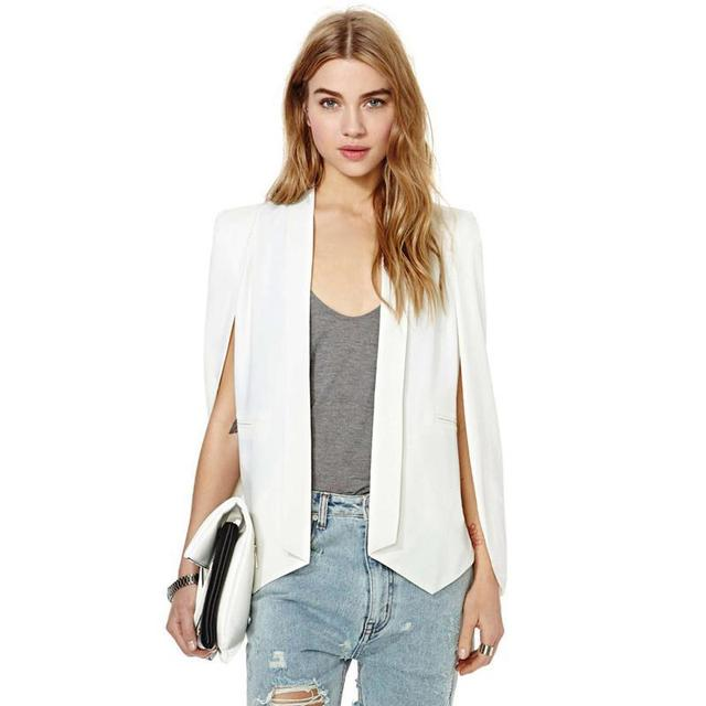 XS-XXL 6 Tamanho Manto Cape Blazer Revestimento Das Mulheres Branco Lapela Preta Dividir Manga Comprida Pockets Sólidos Suit Casual Jacket Workwear